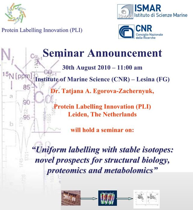 "Seminario: ""Uniform labelling with stable isotopes:   novel prospects for structural biology, proteomics and metabolomics"""