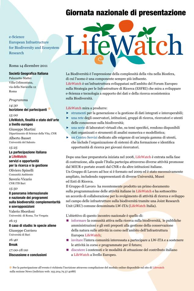 National Day of presentation of LifeWatch-Italy